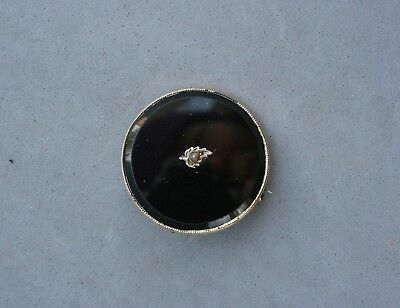 """Antique Karat Gold Black Glass Mourning Pin Brooch Seed Pearl Leaf 1 1/8"""" Round"""