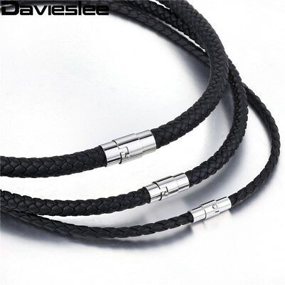 4/6/8mm Thin Black Braided Cord Rope Man Made Leather Necklace Silver Tone St...