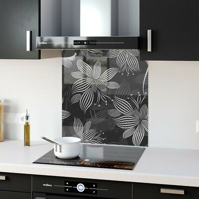 60x65cm Toughened safe glass Splashback. Heat resistant.Grey Leaves 102090043n