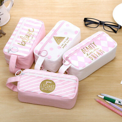 Girls Pink Canvas Makeup Bag Cosmetic Zipper Pencil Case Pouch Purse Hot Selling