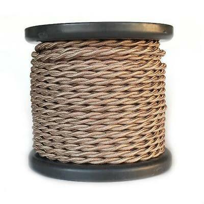 Light Brown Twisted Rayon Covered Wire, Antique Style Cloth Lamp Cord