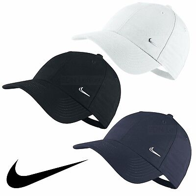 Nike Swoosh Logo Cap Running Golf Baseball Hat Black Navy White Mens Womens