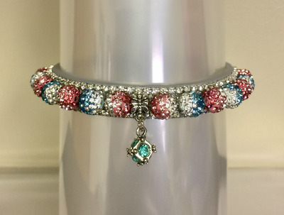 Cutie Pie Pet Collars~Aqua Blue Pink  Disco~ Rhinestone Dog Cat Pet  Collar USA