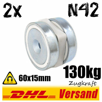 2x Neodymium Pot Magnet D60x15mm 130kg N42 with Countersink Wall Mounting