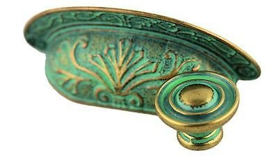 """Lot of 8 Bin Pulls Verdigris Cup Drawer Pull Patina Ornate 64mm 2-1/2"""" Centers"""