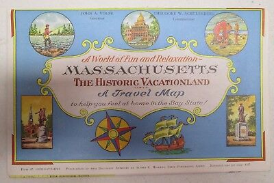 Vintage Massachusetts The Historic Vacationland A Travel Map 1967