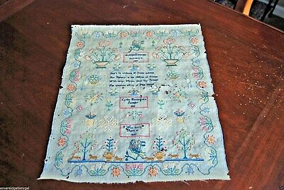 Antique 1825 SAMPLER LYDIA HENWOOD Silk on Linen Needlework Pennsylvania PA