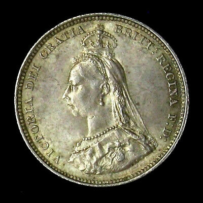 1887 Great Britain Shilling Uncirculated silver coin
