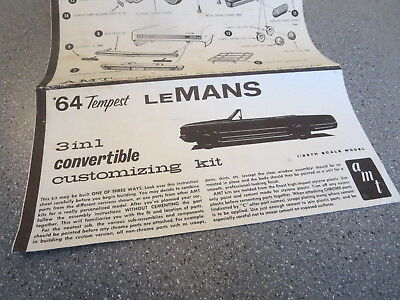 MODEL KIT INSTRUCTION SHEET ORIGINAL 1964 TEMPEST LeMANS CONVERTIBLE 3N1 KIT