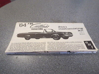Model Kit Instruction Sheet Original 1964 Cutlass Convertable Customizing Kit