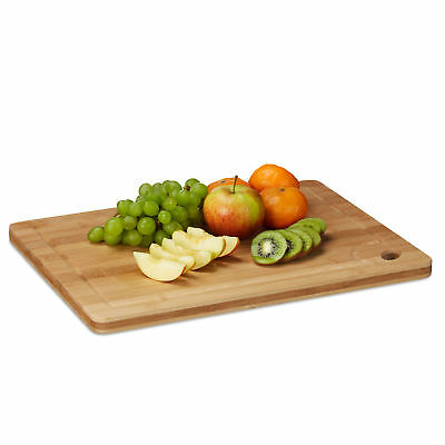 Bamboo Chopping Board with Juice Groove & Cut-Out Handle, Massive, Natural Brown