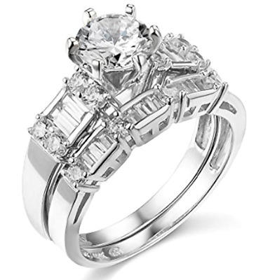 2.75 Ct Round Cut Engagement Wedding Ring Set Real 14K White Gold Matching Band