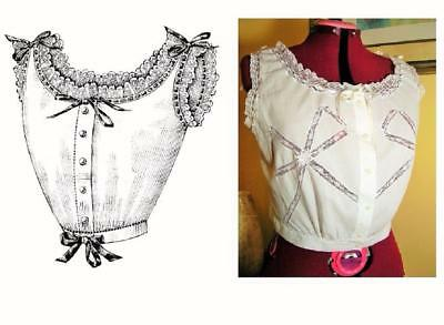 Antique Pattern 1903 Edwardian Corset Cover~Lingerie~(3 Sizes Included: S/M/L)