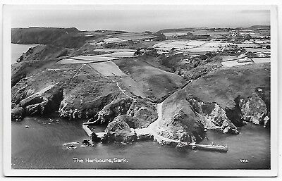 Vintage Postcard.  R.P. The Harbours, SARK.  Used 1959 From Sark.. Ref:78248