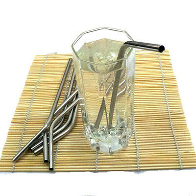 Stainless Steel Drinking Straw Reusable Washable for Bar party Xmas Party LJ