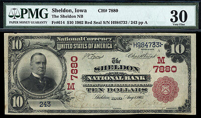 $10 1902  Sheldon National Bank, Iowa CH 7880 PMG 30 RARE RED SEAL UNIQUE 4 BANK