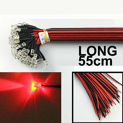 US Stock (50pcs) Pre Wired 5mm LED RED 55cm Prewired 12V Light Emitting Diode