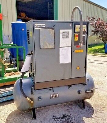 2002 30 Hp Atlas Copco GA22 Rotary Screw Compressor Tank Mnt w/Enclosure 22K hrs