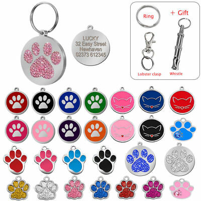 Personalized Dog Tag Round Circle Paw Print Cat ID Name Phone Tags Free Engraved