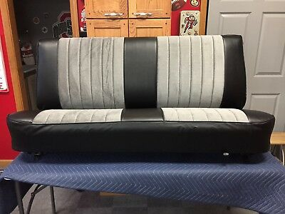 1981-1987 Chevy GMC Truck Bench Seat Restored/Recover Silver Velour/Black Vinyl