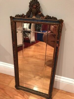 Antique Ornate Victorian Gold Gilt Wood & Gesso Wall Mount Mirror Vanity