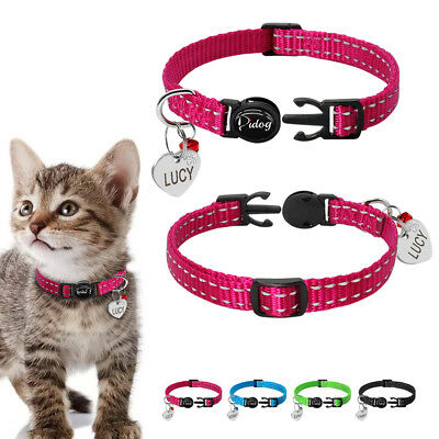 Personalized Nylon Breakaway Cat Collars Safety Reflective Quick Release Buckle