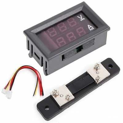 Red Blue 0-100V/50A Digital Voltmeter Ammeter 2in1 DC Volt Amp Meter W/ Shunt