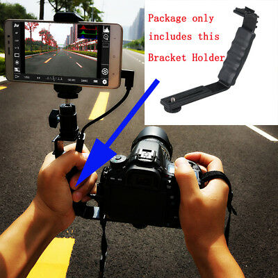 New Microphone Flash light Camera MINI DV L-Shape Bracket Holder With 2 Hot Shoe