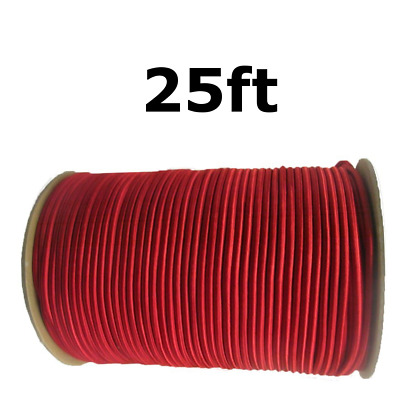 "25ft 1/4"" Red Shock Cord Marine Grade Bungee Heavy Duty Tie Down Stretch Rope"