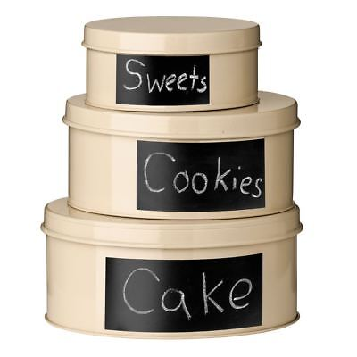 Clifton Set of 3 Storage Tins, Cream, With Chalkboard