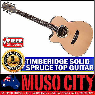 New Timberidge Left Handed Solid Spruce Top Acoustic-Electric Small Body Guitar