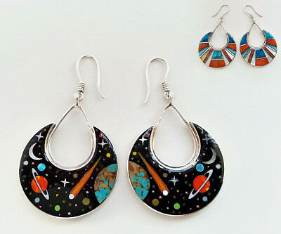 Reversible Celestial Opal Spiny Comet Mosaic Inlay .925 Silver Dangle Earrings