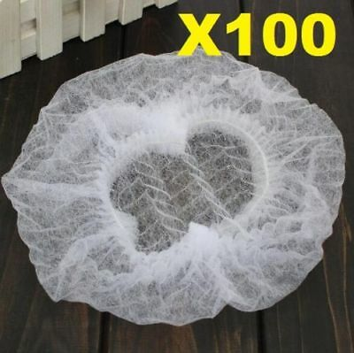 100 Disposable White Dust Net Caps Hair Stretch Non Woven Bouffant Spa Tan Cap ^