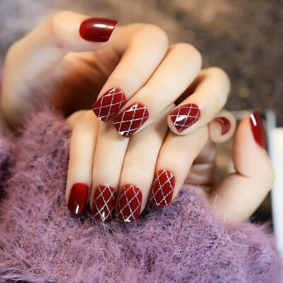 Wine Red Artificial False Nail Tips Silver Glitter Cross Line Decoration Z177