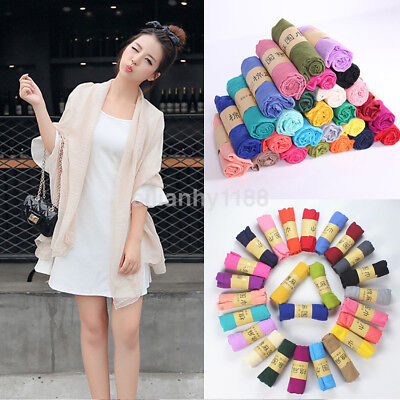 Portable Lady Women Candy Color Long Soft Cotton Linen Scarf Wrap Shawl Stole