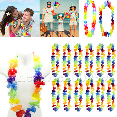 New 15x Hawaiian Tropical Leis Flower Garlands Necklace Party Fancy Dress -UK