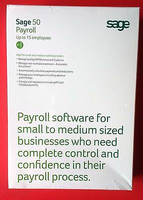 SAGE 50 PAYROLL 15 Employees SOFTWARE PC Windows Full Edition BNIB Business