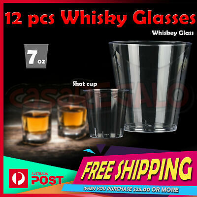 12x Disposable Whisky Glasses - Party Supplies Drinking Glass Cups