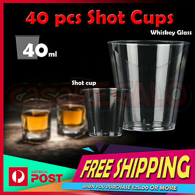 40x Disposable Shot Cups- Party Supplies Round Drinking Glass Cup