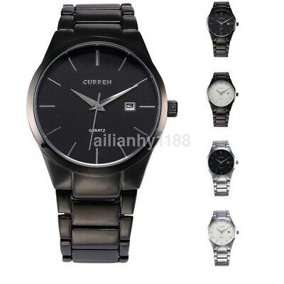 CURREN Fashion Military Stainless Steel Analog Date Quartz Men Wrist Watch CA