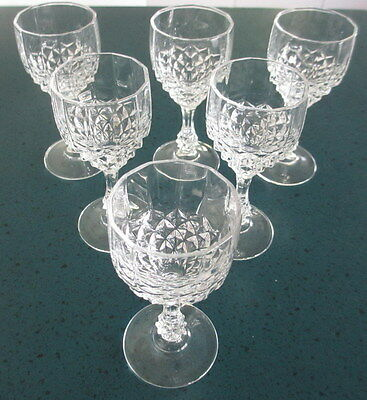 WINE GLASSES x 6 - Fine Crystal Unbranded - Diamond Cut - Vintage - Ex Cond
