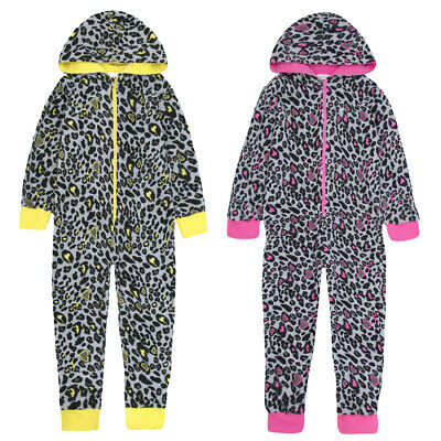ONEZEE Girls Leopard Print Animal Hooded Jumpsuit Sleepsuit Nightwear Pyjamas