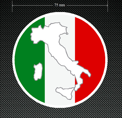 2 x ITALIAN ROUNDAL Stickers/Decals 75mm Diameter Printed and Laminated - Italy