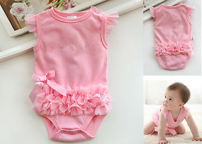 Infant Baby Girl Ruffle Bowknot Newborn Bodysuit Playsuit Romper Clothes Outfits