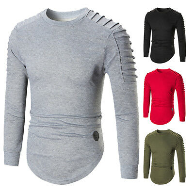 Mens Casual Fold T-Shirts Tops Tee Round Neck Long Sleeve Slim Fit Men's T Shirt