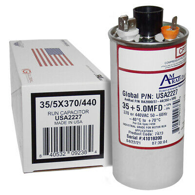 35 + 5 uF MFD x 370 / 440 VAC Motor Run Capacitor AmRad USA2227 - Made in USA