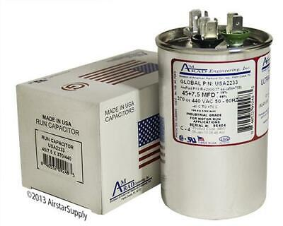 80 7.5 uF MFD x 370 Made in USA 440 VAC Motor Run Capacitor AmRad USA2223B