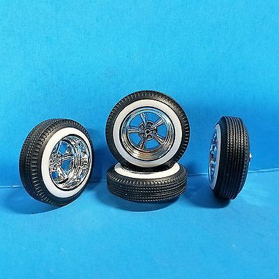 1/24 25 SUPREME Wheels Astro Pacer Wide Whitewall 5 Spoke Lowrider