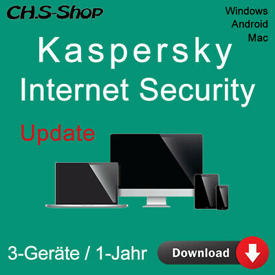 Kaspersky Internet Security  3-PC / 1-Jahr Deutsch Vollversion -  für 2017 / KEY