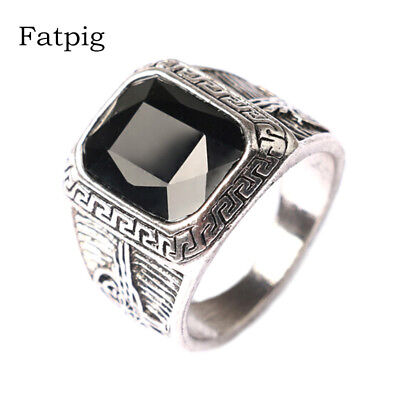 Silver Color Men Rings Big Black Red Carved Stone Rings for Men Male Ring Jew...